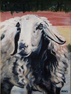 ORIGINAL PAINTING, acrylic on canvas, sheep painting, sheep portrait, animal picture, original art, realism with a touch of impressionism by merciniancrafts on Etsy