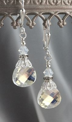New w/Swarovski Clear/AB Finish Flat Briolette Crystal Pendant Bridal Earrings #HisJewelsCreationsDesign #DropDangle