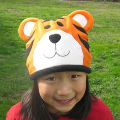 Tiger Fleece Hat  Baby Toddler Children Adult by DinkyDimples