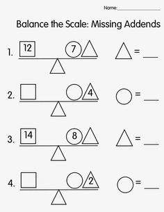 Worksheet 1   Worksheet 2   Worksheet 3   Worksheet 4   Missing Addend Story Problems   Out of Balance  Ace of Numbers Online Game