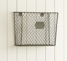 Wire Mesh Wall-Mount Magazine Rack | Pottery Barn Hair dryer/flat iron storage?