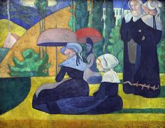 Émile Bernard - Breton women with umbrellas