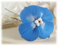 Natural Blue Hydrangea Hair Pins
