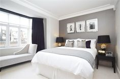 Grey bedroom - two tone greys and white crown molding!