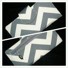 Gray/Yellow Chevron Print Womens Wallet 2 by CreationsByTiana, $40.00