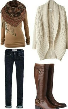 I like the oversized cream sweater and the brown scarf.