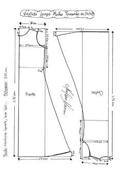 Esquema de Molde de Vestido de Malha tamanho GG (50/52).
