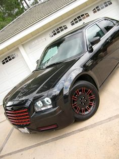 chrysler 2007 black red rims wheels grill bumper body kit lights ground fx interior halos custom interior exterior clean rear front side skirts carbon fiber pillars vents mesh tricked out blacked out w red accents Chrysler 300c, Chrysler Cars, My Dream Car, Dream Cars, Red Accents, Carbon Fiber, Cars Motorcycles, Cool Cars, Interior And Exterior