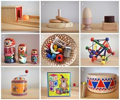 Montessori materials and traditional toys at 8 months.