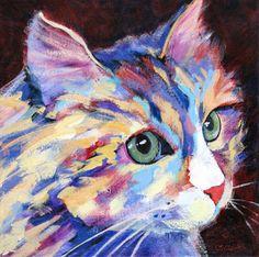 """""""Cat Caution"""", peint par Carolee Clark - portrait contemporain."""