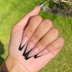 French Tip Acrylic Nails, Purple Acrylic Nails, Acrylic Nails Coffin Short, Coffin Shape Nails, Best Acrylic Nails, Black Coffin Nails, Long French Tip Nails, Black And Nude Nails, Black French Nails
