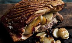 Nigels' pork belly with roast potatoes and apple