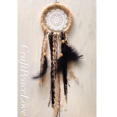 Black, Cream, Tan Dreamcatcher/Wall Hanging - pinned by pin4etsy.com
