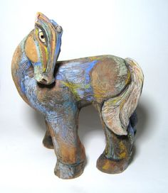 Clay Horse Sculpture Ceramic Art Horse Blue Mare by BlueFireStudio, $320.00