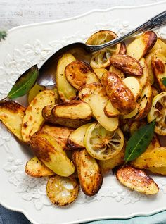 A tasty twist on classic roast potatoes. The lemon and bay leaves add an exciting flavour that is really delicious when paired with a seafood-based main.   Tesco