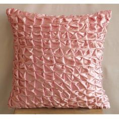 Soft Pink Snow - 16x16 inches Square Decorative Throw Pink Velvet Pillow Covers with Knots The HomeCentric