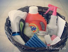 DIY Cleaning Products Gift Basket  gift ideas - gifts - hostess gift - present - housewarming - thank you gift - cool gifts - holiday - gift baskets - raffle gift - raffle basket - bridal gift - bridal shower favor - Christmas gift - teacher gift