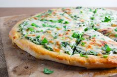 Roasted Garlic & Spinach White Pizza. White pizza is always my sister's choice when we go out, so I'm really happy to find this healthy recipe so we can make it together at home