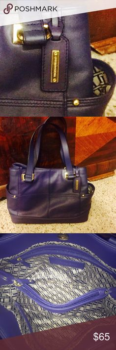 "Tignanello Handbag 💗 EUC Beautiful, blue, Leather, Tignanello handbag in excellent like new condition!! Large side pockets for quick access to phone, keys, etc.  The inside is very roomy with zip pocket on one side, two deep pockets on the other, and a large center zip compartment.  Measures 10.5"" by 6"" by 9"" and the shoulder straps are 10"" from center of straps to opening.  There is also a strong magnetic closure.  All reasonable offers are welcome🛍 Tignanello Bags Shoulder Bags"