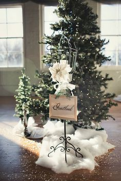 Winter wedding reception sign tis the season to be married guest book every one signs an ornament junglespirit Images