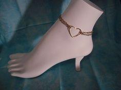 gold heart anklet