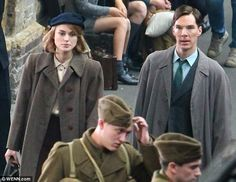 Cracking the code: Benedict Cumbatch and Keira Knightley film a scene for forthcoming film The Imitation game at Kings Cross station in Lond...
