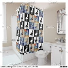 German Shepherd in Check Shower Curtain