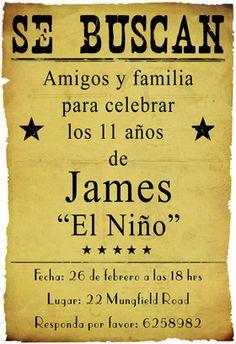 """Fiesta de cumpleaños vaquero"" printable invitation. Customize, add text and photos. print for free!"