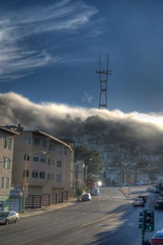 Fog reaching over Twin Peaks. San Francisco by Aaron Franklin