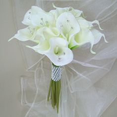 CBO001 Real Touch Calla Bouquet : Real Touch Calla Lily Wedding Posy £35