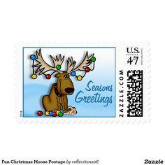 Fun Christmas Moose Postage