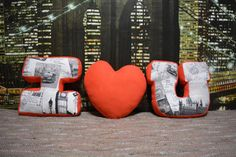 Pillows I love you by DesignToysArt on Etsy