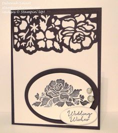Floral Phrases stamp set & Detailed Floral Thinlits Dies used for this #weddingcard  Colours are Not Quite Navy and Whisper White