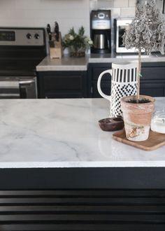 Carrara marble countertops for a modern kitchen design and reno Concrete Countertops, Kitchen Countertops, Faux Marble Countertop, Countertop Paint, Dark Counters, Copper Counter, Kitchen Cabinets, Quartz Counter, Black Cabinets