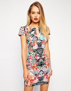 Image 1 of ASOS Mini Sexy Pencil Dress in Mirror Floral Print