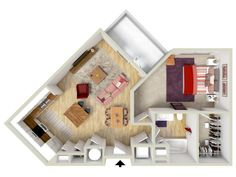 1 bedroom - Arris floor plan - rendering - Brand new apartments! Condo Floor Plans, Studio Floor Plans, Apartment Floor Plans, Tiny House Layout, House Layouts, Apartment Layout, Dream Apartment, Mini House Plans, Home Suites