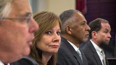 Executive vice president and general counsel at General Motors Co. Michael Millikin (from left), GM CEO Mary Barra, CEO and president of Delphi Automotive PLC Rodney O'Neal and chairman of the firm at Jenner & Block Anton Valukas testify before a Senate Commerce, Science and Transportation Committee hearing.