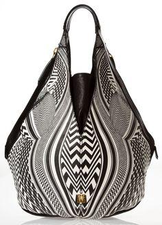 Black and white geometric print tote bag - Women's Bags and Purses #geometric #tote #bags