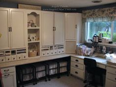 I love this room - the cabinets are beautiful.  Here is where I got idea for the rolling carts.