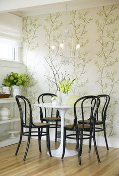 Tulip Table & Bentwood Chairs. Easily a 'can't go wrong' combo.