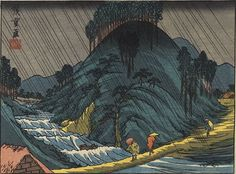 Spring Rain at Tsuchiyama by Hiroshige -- from the 53 Stations of the Tokaido series -- Kichizo edition