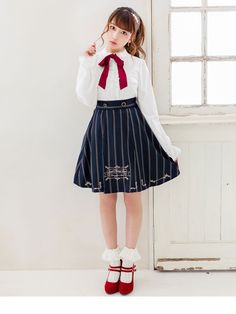 dreamv | Rakuten Global Market: Skirt foreign-style classical embroidery box fashionable girly Lolita clothes Lady cute fall pleated color knee-knee-invited high-waisted classy dates lined beige Brown Navy stripe pattern plain/m L LL / available.! Dream vision 1108 • 11 / 10 ships will