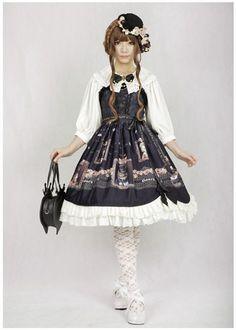 Pre Order I: Honey Honey Cats Printed Lolita Jumper Dress >>> http://www.my-lolita-dress.com/honey-honey-cats-printed-lolita-jumper-dress-hh-3