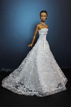 Bride by Nega Barbie Bridal, Barbie Wedding Dress, Wedding Doll, Barbie Gowns, Barbie Dress, Barbie Clothes, Wedding Dresses, Fashion Royalty Dolls, Fashion Dolls