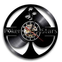 Poker Star Spades VINYL RECORD 3D LASER CUT WALL CLOCK