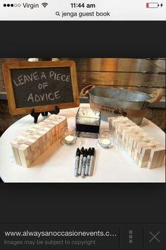 Jenga guest book idea for wedding