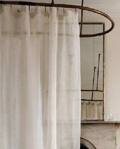 linen shower curtain - will be making this rather than spending the *cough* 59-128 smacks for it.