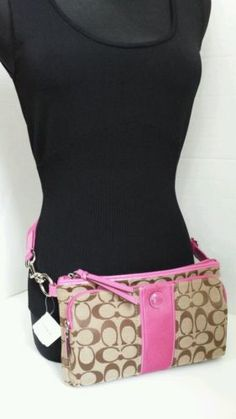 COACH Mulberry Pink Brown Khaki Convertible Hip Fanny Pack Travel Purse 49435