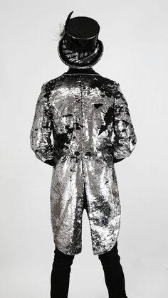 Mens Sequin jacket blazer, marching band ring master jacket Halloween, disco tuxedo, Festival Tail Coat, burning man costume by Love Khaos Sequin Coats, Sequin Blazer, Sequin Jacket, Sequin Kimono, Burning Man Fashion, Burning Man Outfits, Festival Wear, Festival Fashion, Festival Clothing