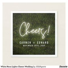 Shop White Neon Lights Cheers Wedding Napkins created by JillsPaperie. Marriage Reception, Marriage Vows, Wedding Art, Wedding Signs, Wedding White, Neon Licht, Brunch Wedding, Wedding Napkins, Signature Cocktail